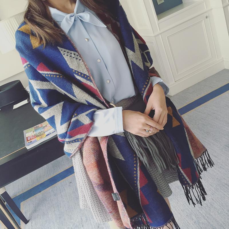 新款围巾文艺范民族风拼色仿羊绒围巾女秋冬加厚保暖大披肩