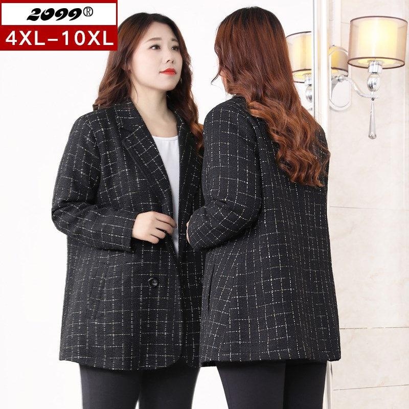 Extra large womens clothes spring 2020 new 250 kg fat mm casual suit coat medium length foreign style oversize