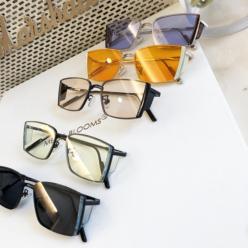 2021新款太阳眼镜男韩版长方形平面眼镜时尚撞色Jennie同款墨镜女