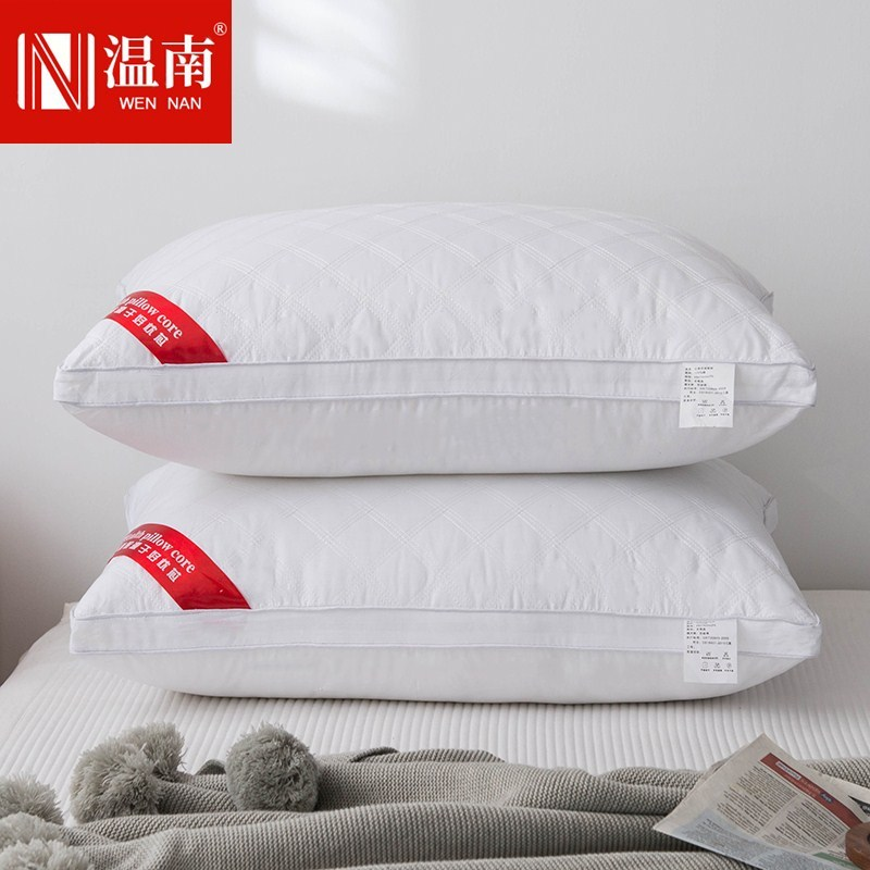 Pillow core Hotel single single single three-dimensional heightening thickening cervical protection whole head household one pair 48x74cm