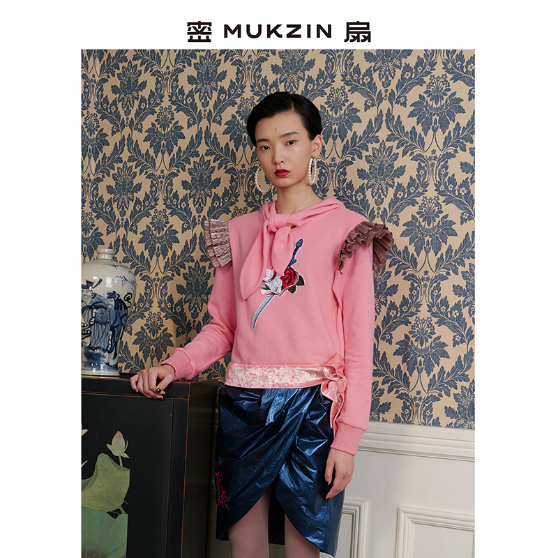 Dense fan mukzin fashionable childrens play garden autumn and winter new wave pleated thread printed pattern flounced sweater