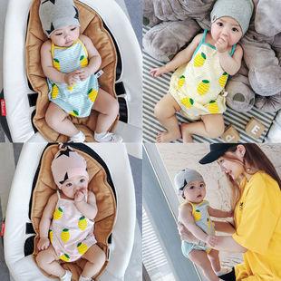 宝宝夏季三角背带爬服无袖包屁衣夏装01岁新生儿3-6-9-12个月吊带