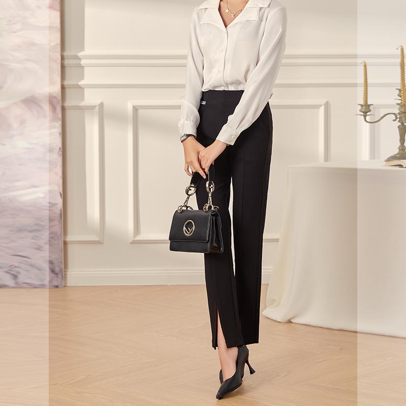 2020新款垂坠感微喇叭裤女韩版高腰显瘦显高阔腿开叉职业西装裤女