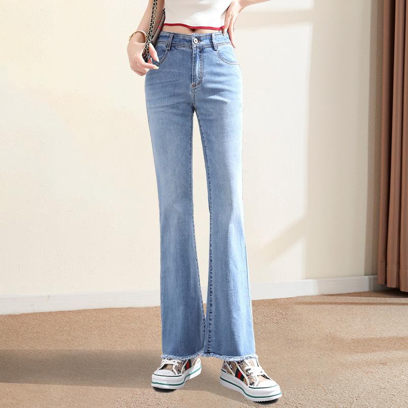 2020春秋装显瘦喇叭牛仔裤女白色九分裤高腰毛边弹力柔软微喇裤子