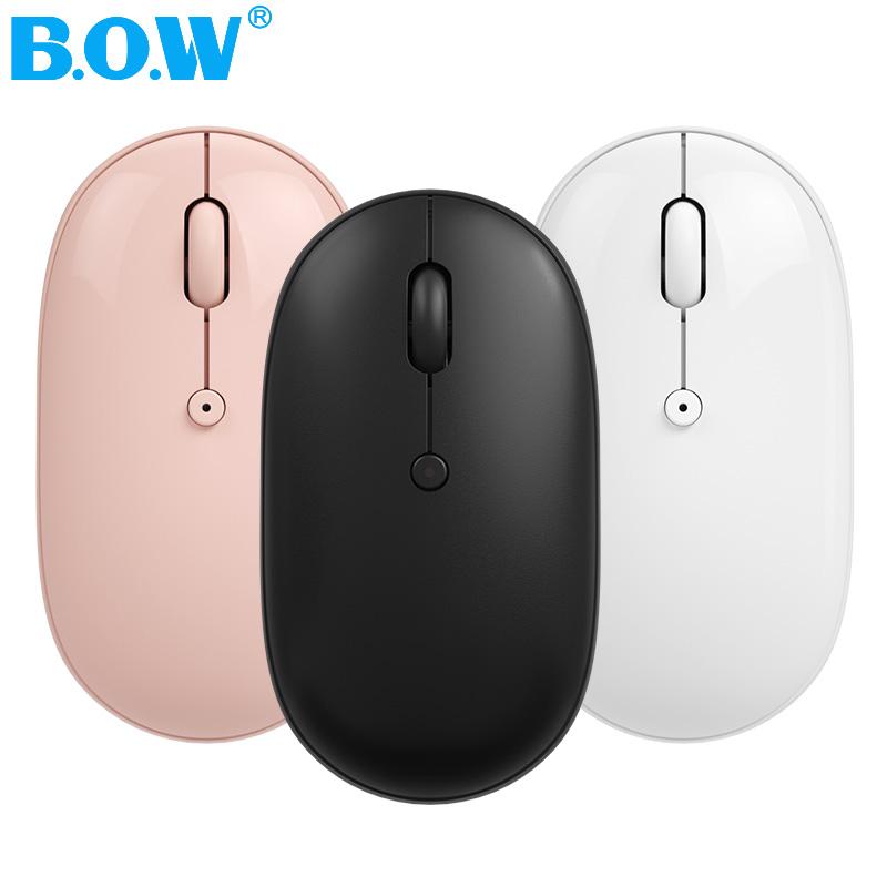 BOW航世ipad平板蓝牙鼠标手机通用无声静音可爱女生可充电式无线双模鹅卵石滑鼠便携适用于苹果mac笔记本电脑