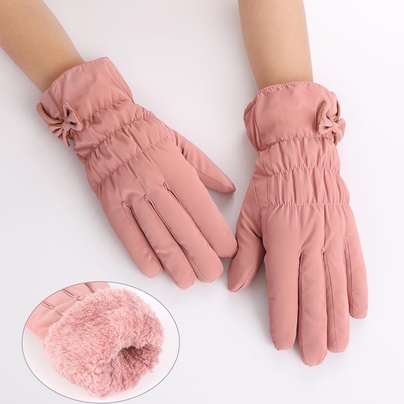 冬季女士手套冬天加绒厚保暖五指全指款骑行韩版防水防风可触摸屏