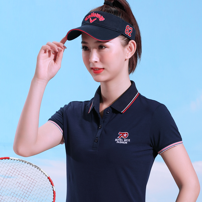 New spring / summer 2020 commuting simple Lapel T-shirt POLO SHIRT COTTON SHORT SLEEVE solid color embroidered T-shirt for women