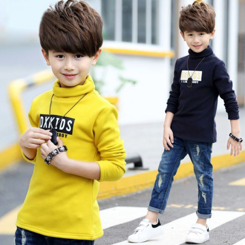Boys high neck bottoming shirt, plush and thickened winter clothes, middle and large childrens long sleeve T-shirt, autumn and winter childrens warm top