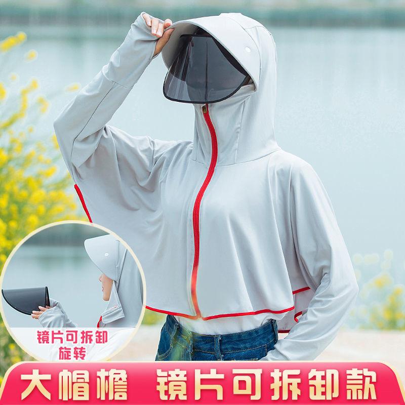 2021新款防晒衣女夏长袖冰丝防晒服罩衫防紫外线透气薄款骑车外套