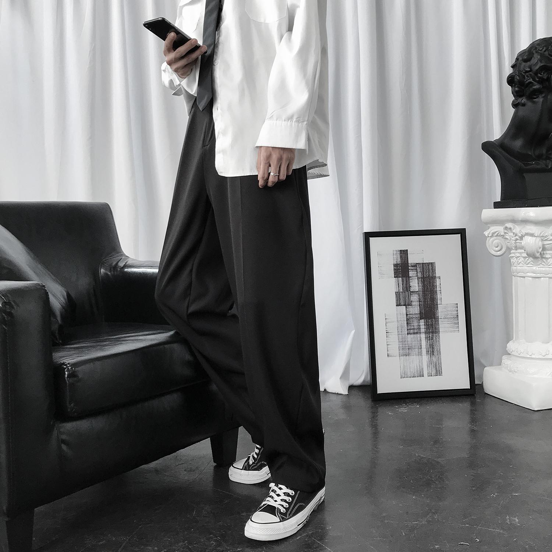 港风INS黑色小西裤男韩版潮流宽松直筒大码立体垂坠感西装长裤子