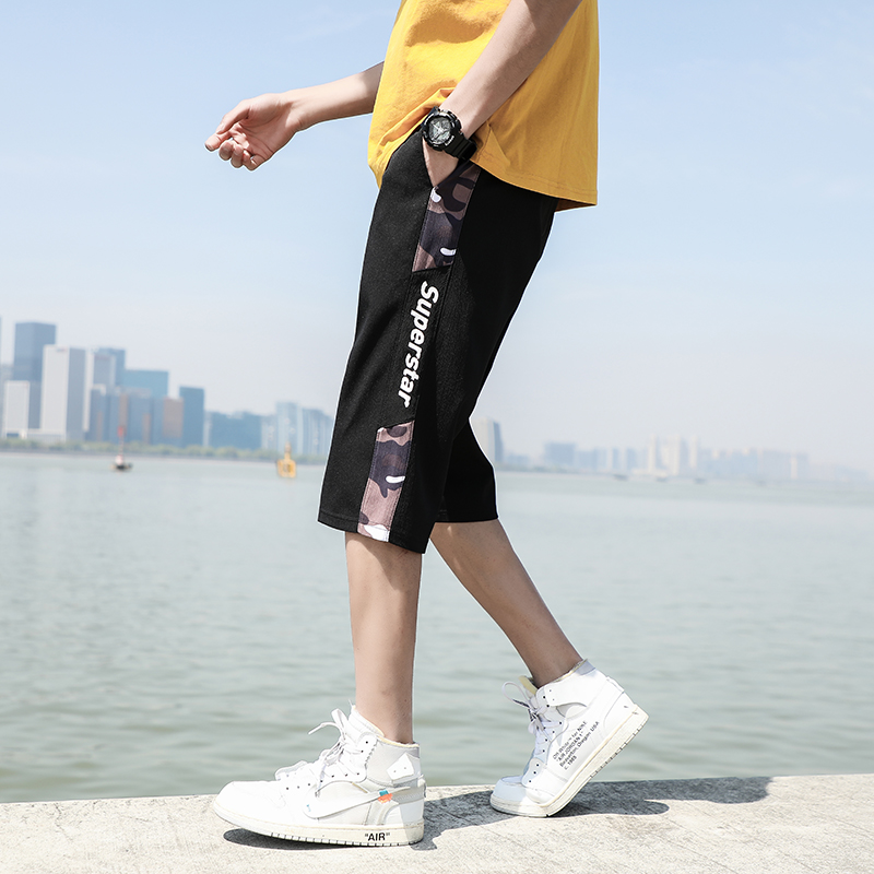 Mens summer casual pants thin fashion shorts mens wear slim and versatile sports youth fashion Capris
