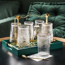 北欧玻璃水杯简约清新森系茶杯套装客厅家用带托盘威士忌啤酒杯