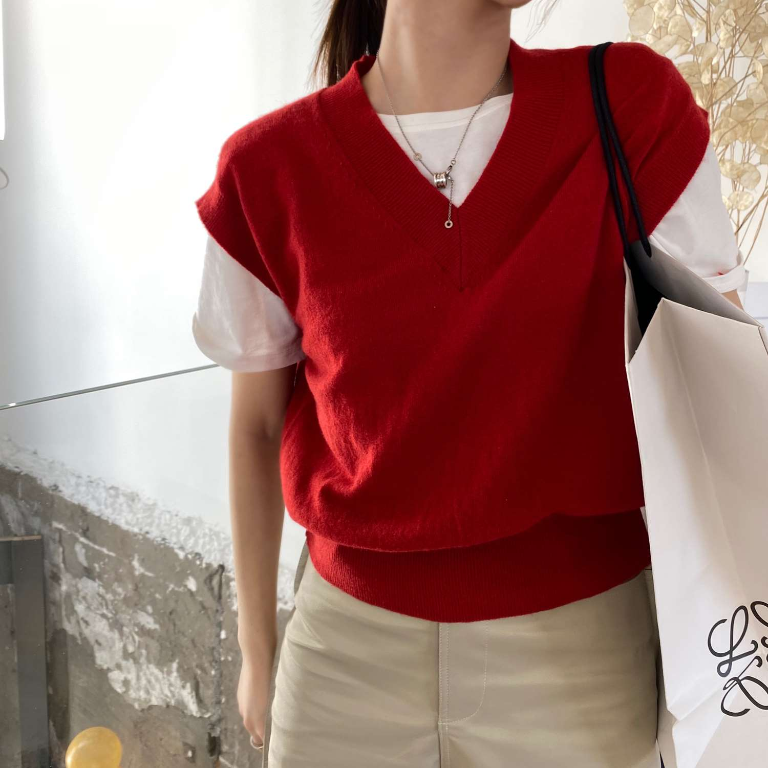 Autumn 2020 new Korean V-Neck Sweater womens loose sweater knitted vest