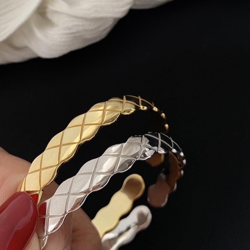 High grade S925 silver geometric design sense of small crowd open girlfriends Bracelet female hand jewelry cool wind net red personality