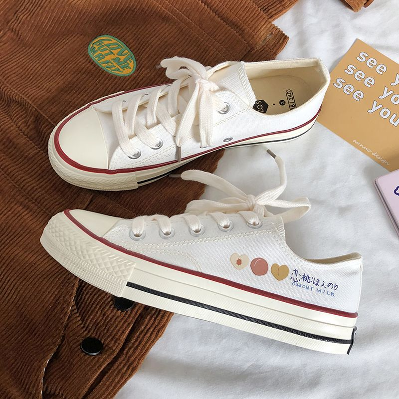 New peaches in 2020 summer, little white shoes, super sweet student of Japanese department, mix and match ins printed low top canvas shoes