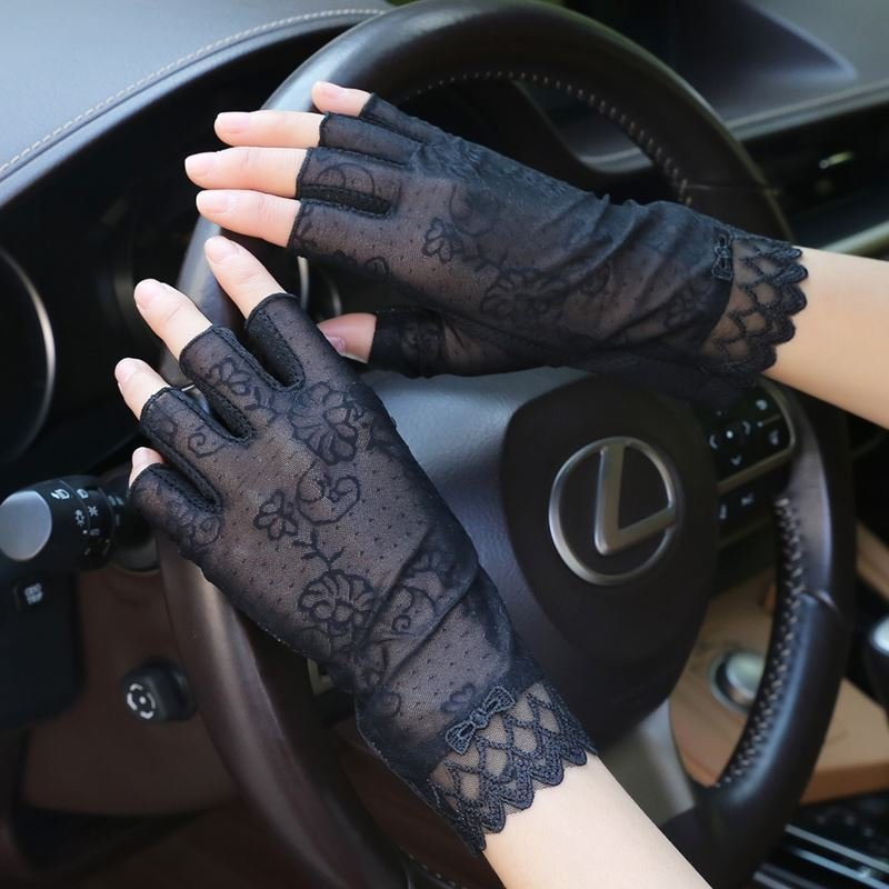 Ice dew finger anti ice sleeves for men and women ice dew finger driving gloves for women short ice dew finger Korean thin lace
