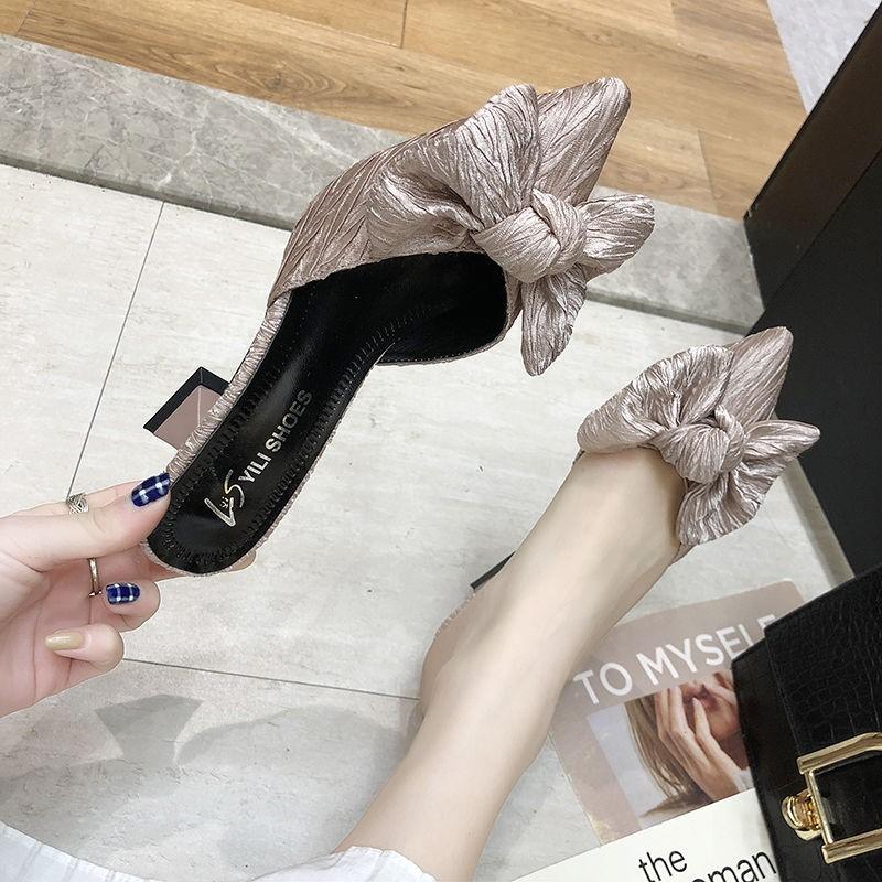 高跟鞋拖鞋女夏外穿半包包头高跟细高跟尖头鞋包脚蝴蝶结法式漆皮