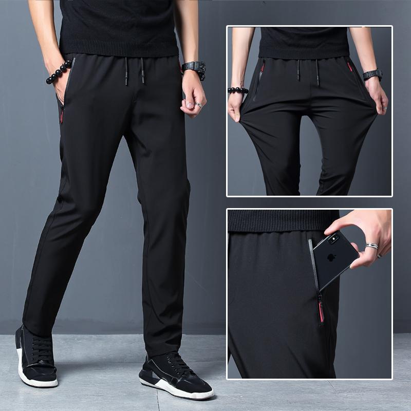 趟狐休闲裤男士修身薄款韩版冰丝裤子锦轮男装运动裤直筒速干裤