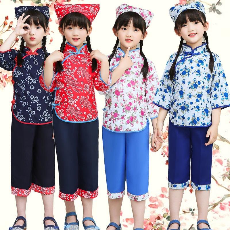 儿童采茶女舞蹈演出服话剧铁梅喜儿阿庆嫂表演服民国村姑演出服装