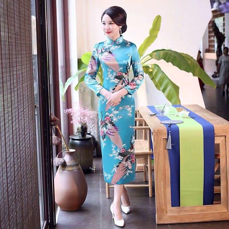 旗袍长款七分袖超大码日常男连衣裙