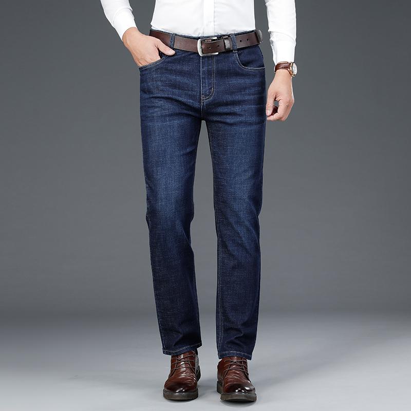 男士牛仔裤秋冬潮流新款宽松直筒男裤加绒