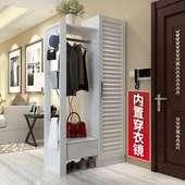 柜家用門口組合衣帽柜掛衣架一體帶鏡子門廳柜多功能玄關隔斷柜 鞋