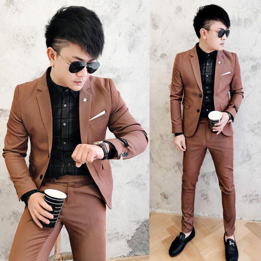 随搭配2020新款潮男小西装两件套韩版修身休闲西服套装发型师西装