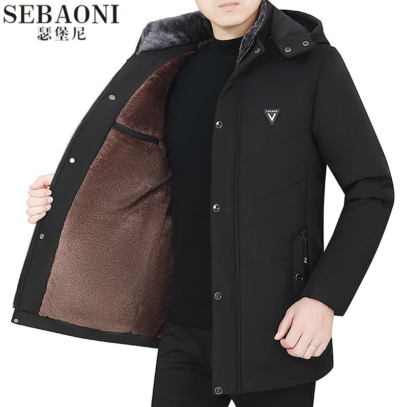 爸爸冬装棉衣加绒加厚中老年人冬季中年男士棉袄父亲棉服外套男装