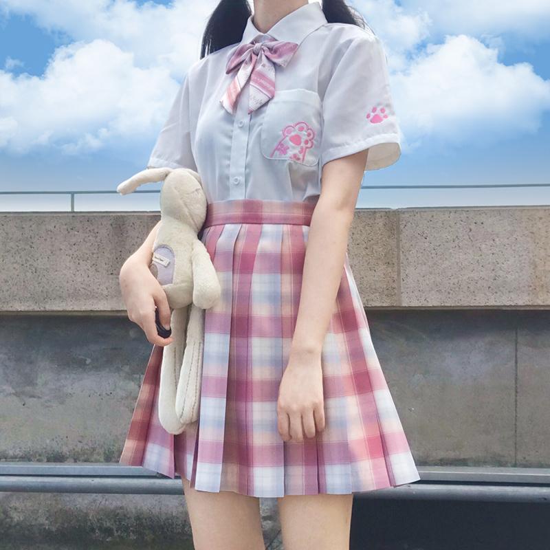 【喵的白日夢】原創jk制服貓爪襯衫短袖女白色襯衣夏季dk百搭學生