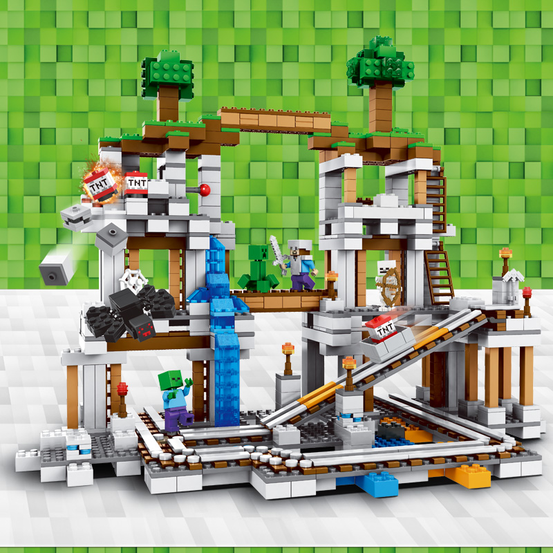 。 LEGO official website authentic my world mine hell fortress mechanism cave man boy assembly building blocks