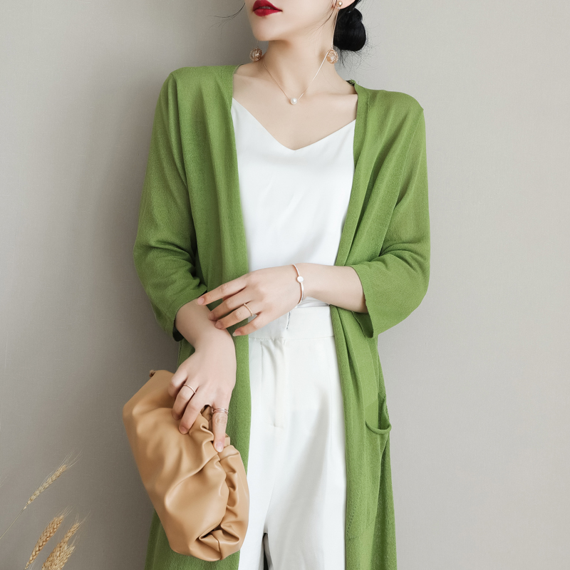 Knitted Cardigan Jacket Womens thin ice silk medium length outer wear 7 / 4 sleeve foreign air sun proof shirt air conditioning shirt long outer wear