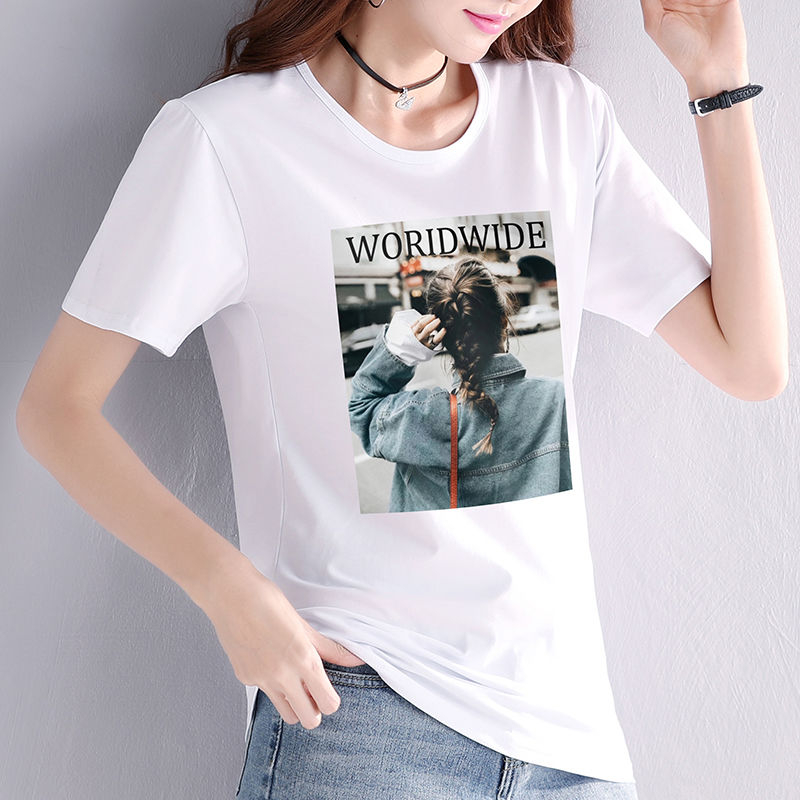 2020 large womens bottoming shirt summer new short sleeve T-shirt with white mesh red ins