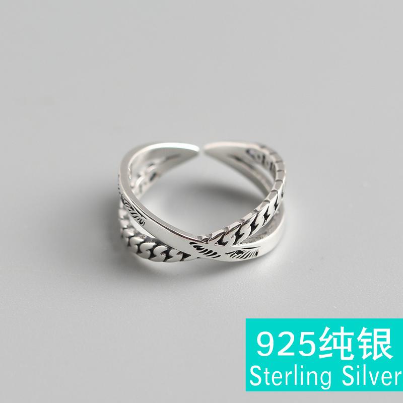 TYJ0269 韩国韩版S925纯银INS风戒指 双层光身线条潮人食指戒指女