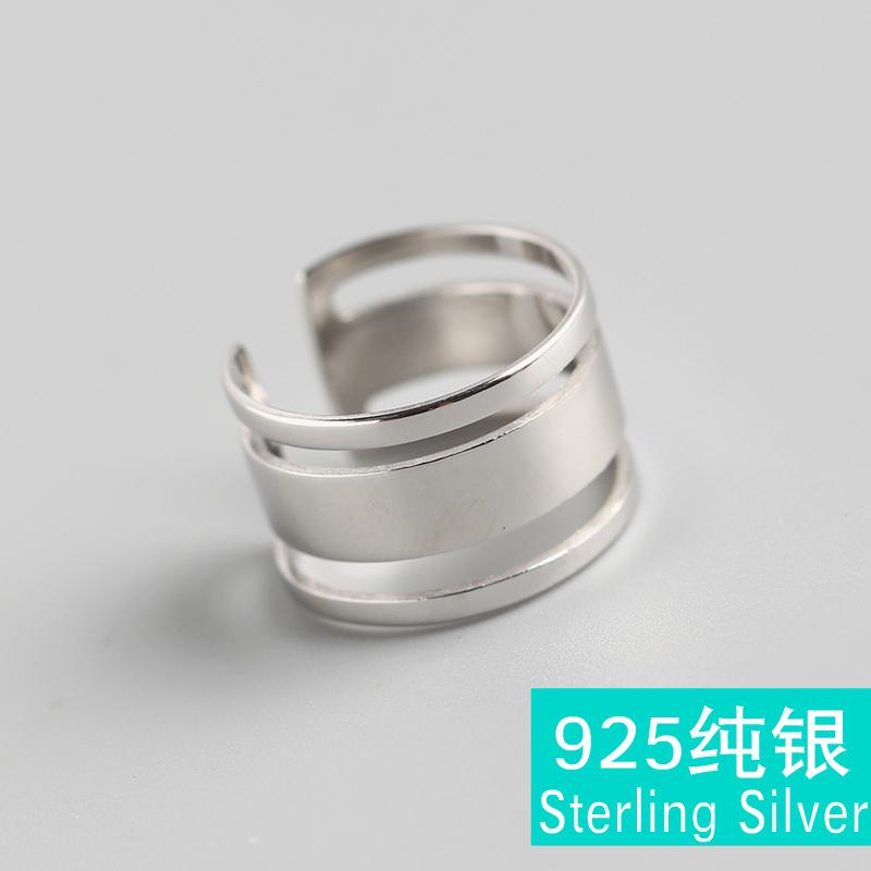 TYJ0265 韩版三层光面线条戒指 S925纯银INS风食指戒指指环饰品女