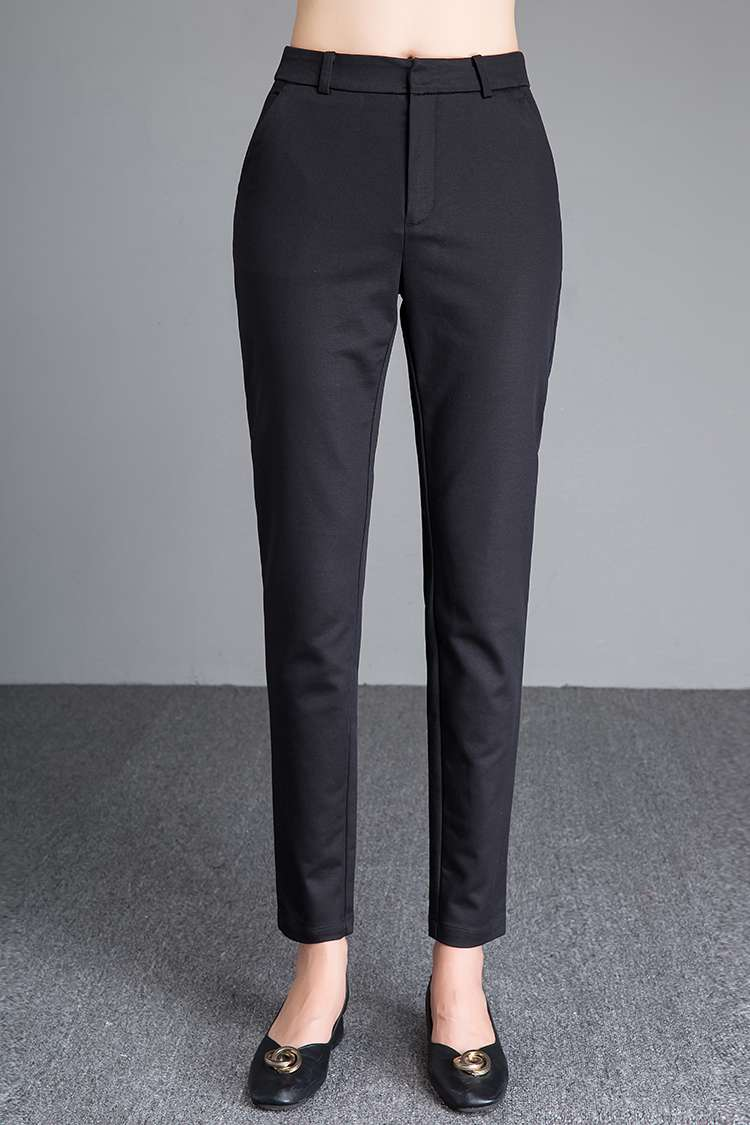 Womens autumn brocade cotton trousers black versatile tapered womens trousers