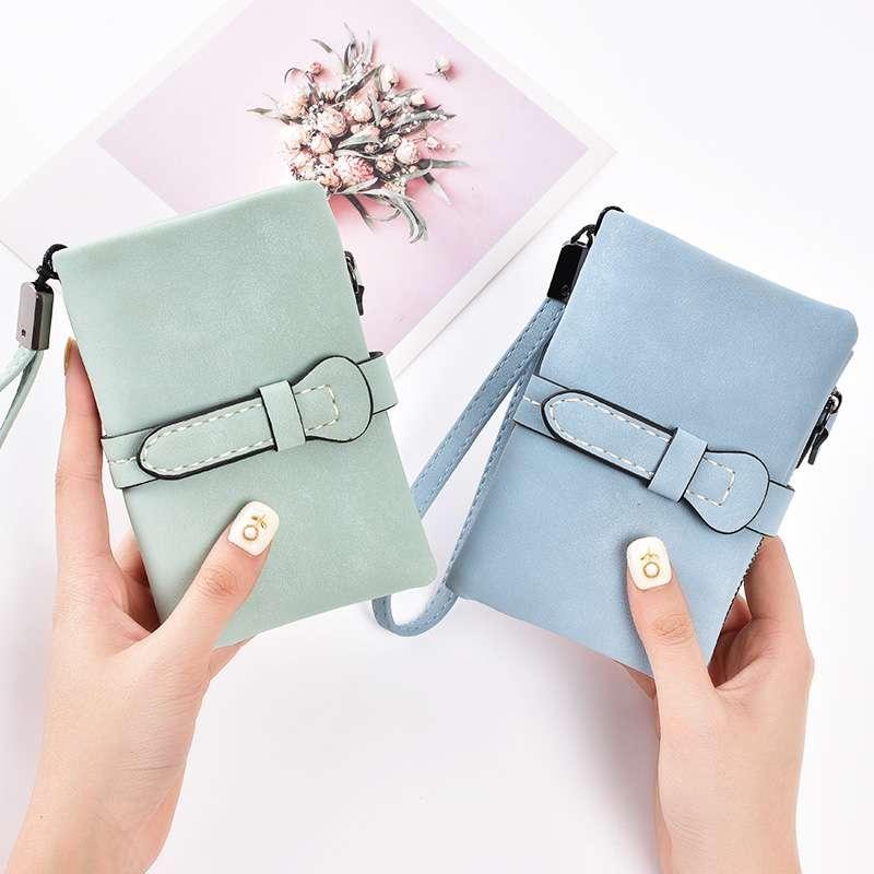 Wallet womens short 2020 new student Korean Version cute zero wallet womens folding small fresh frosted small wallet women