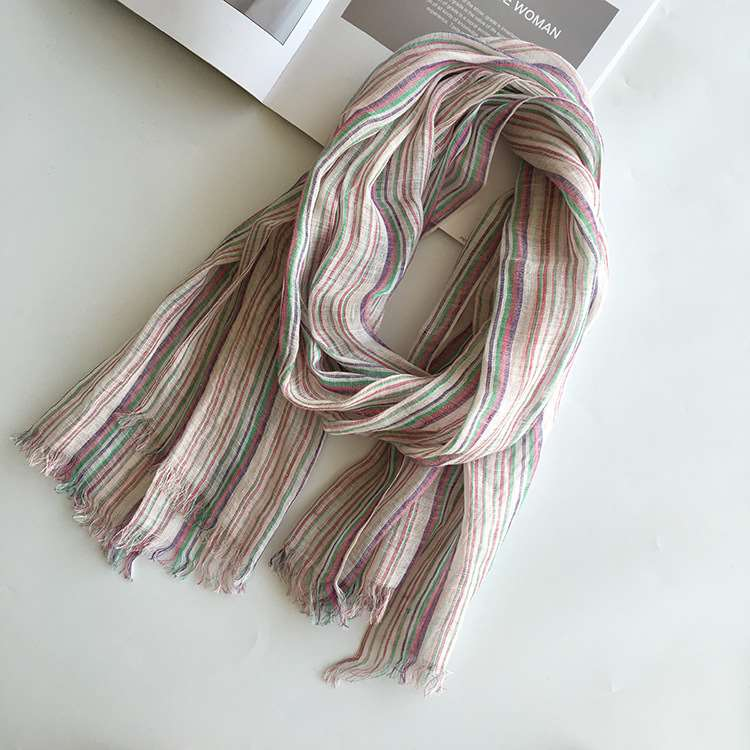 Striped thin linen scarf for men and women to match shawl with rough edge shawl summer sunscreen scarf A01