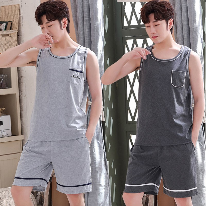 Mens pajamas summer cotton suit mens ultra-thin loose oversize sleeveless vest home wear can be worn out