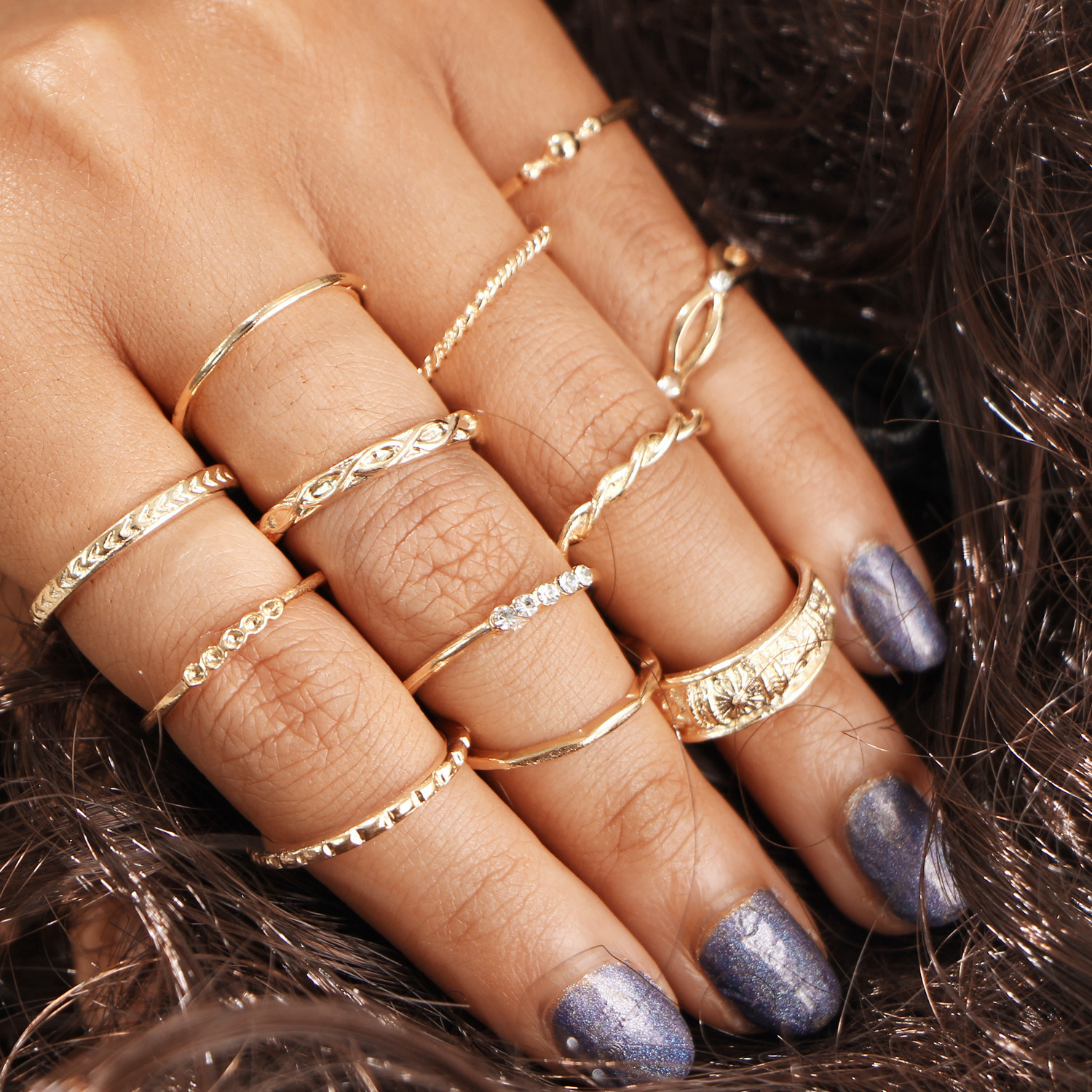 Joint ring set Vintage diamond ring 12 combination winding knot carved 12 Piece Set Ring