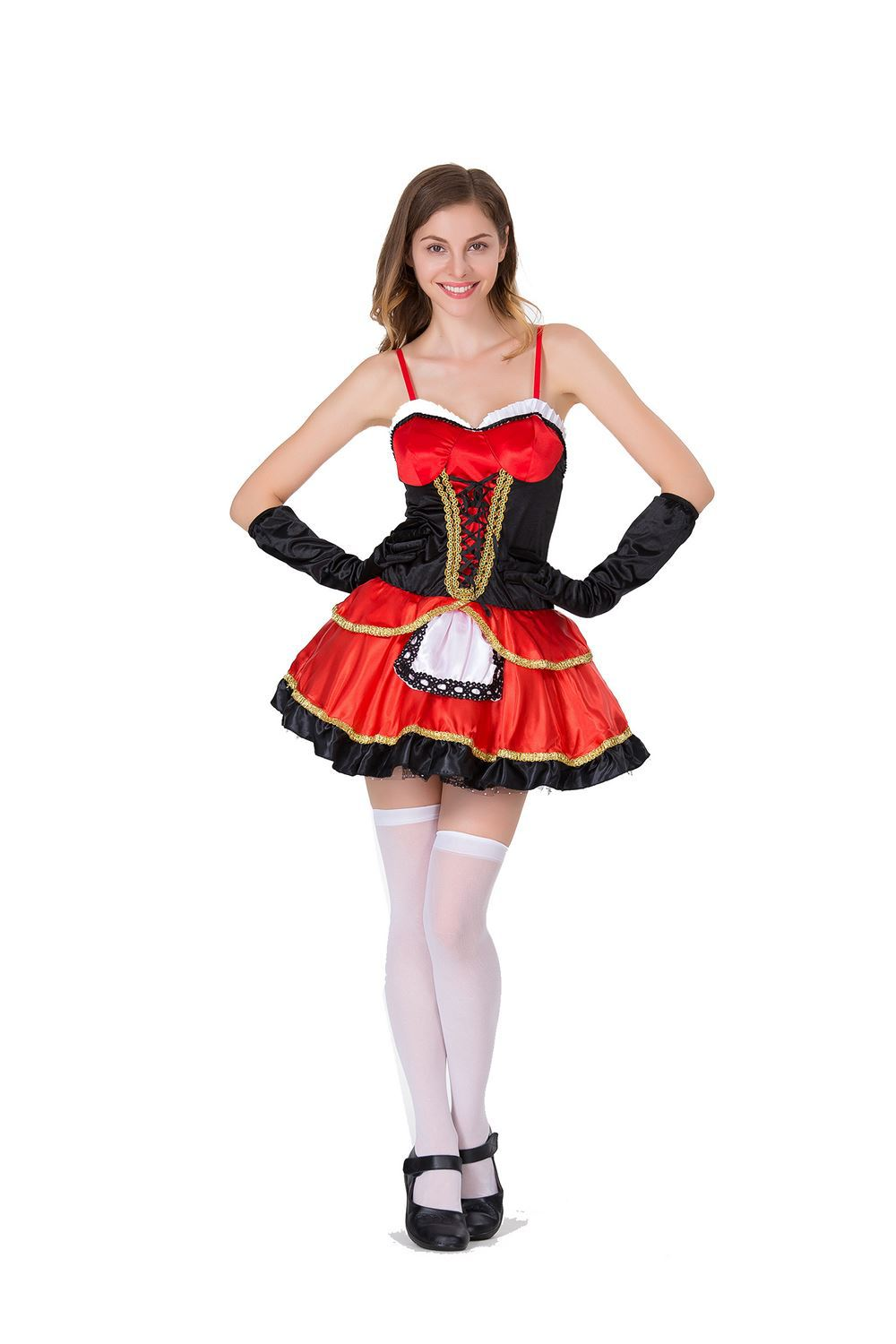 Live shot split Size Halloween Costume Little Red Riding Hood Princess Dress Cape Cosplay role play
