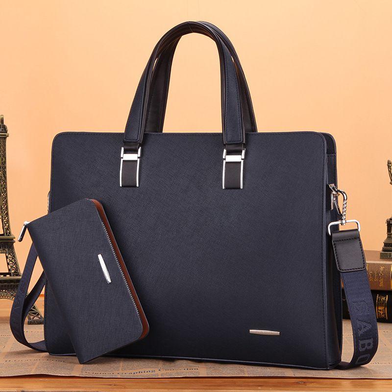 男士手提公文包横款商务包男式电脑包休闲背包挎包大容量跨境
