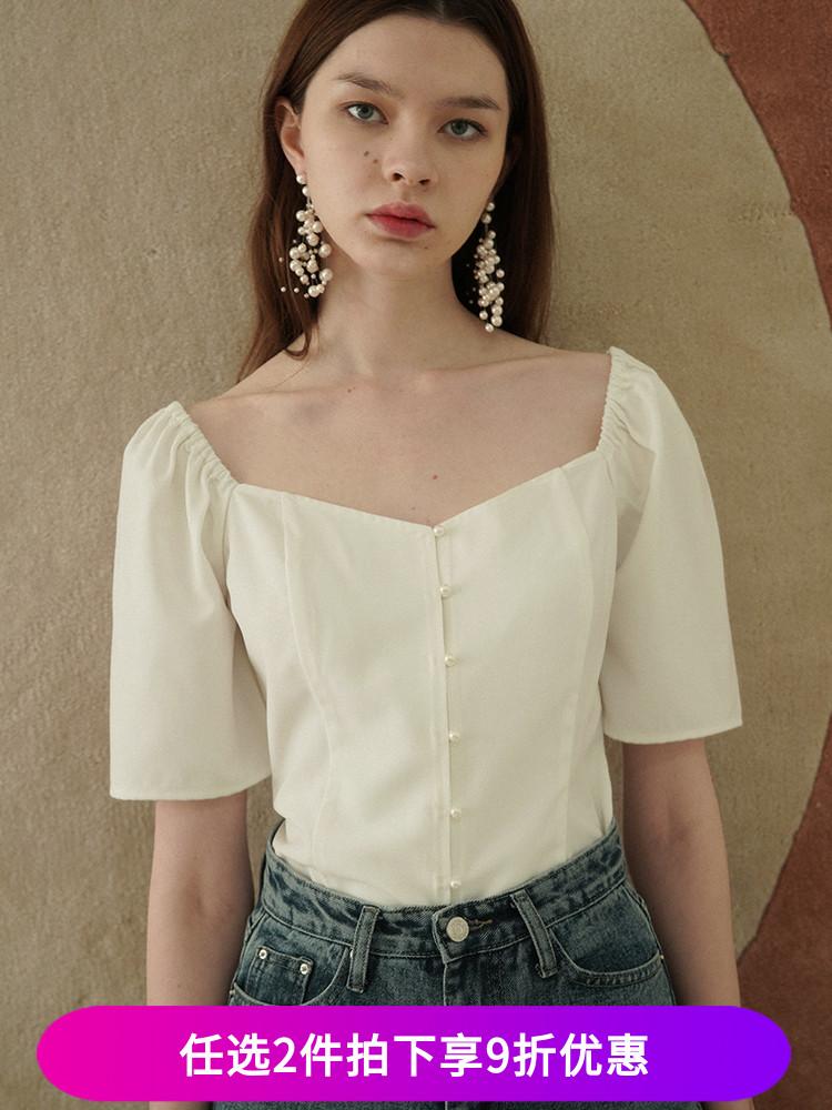 法式复古宫廷风大方领露锁骨泡泡袖上衣女夏短袖白衬衫灯笼袖衬衣