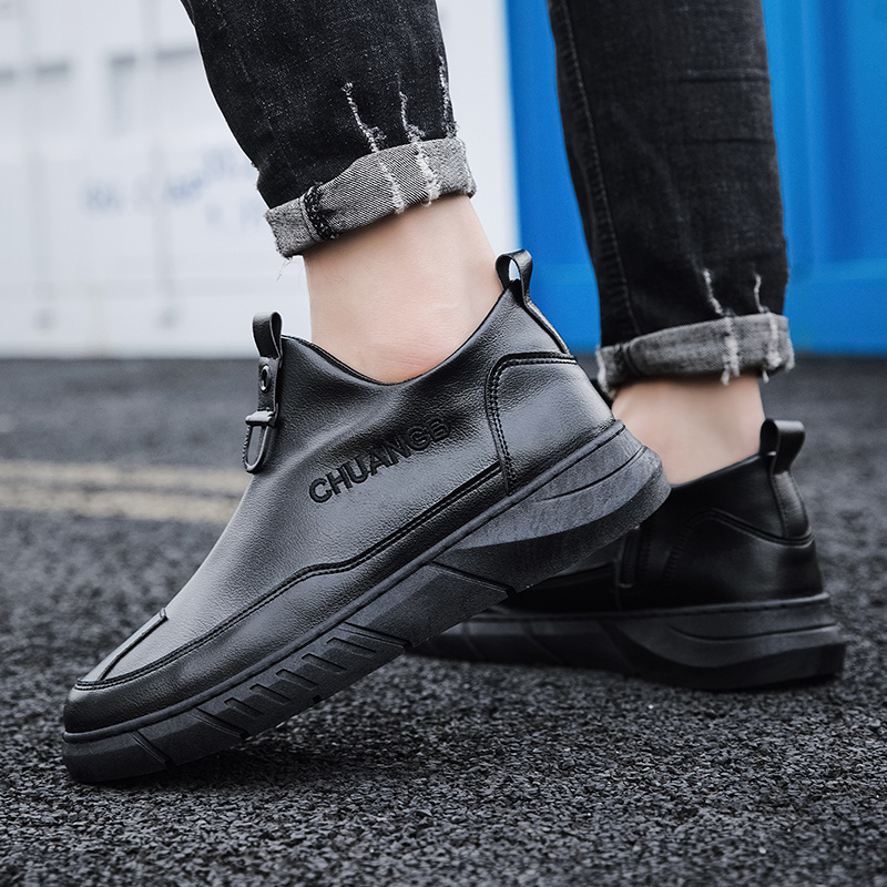High top sloucher leather boots without shoelaces mens side zipper in spring, waterproof and oil proof cooks shoes, car washing and working shoes