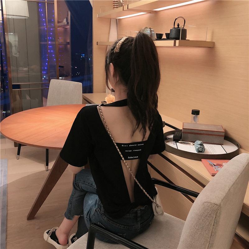 2021新款夏装韩版时尚休闲心机上衣宽松短袖女性感露背T恤ins潮流