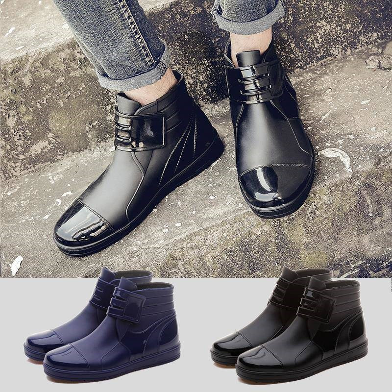 Water shoes mens short tube low top popular summer mens short rain boots rubber shoes mens waterproof and antiskid rain shoes work cooks shoes