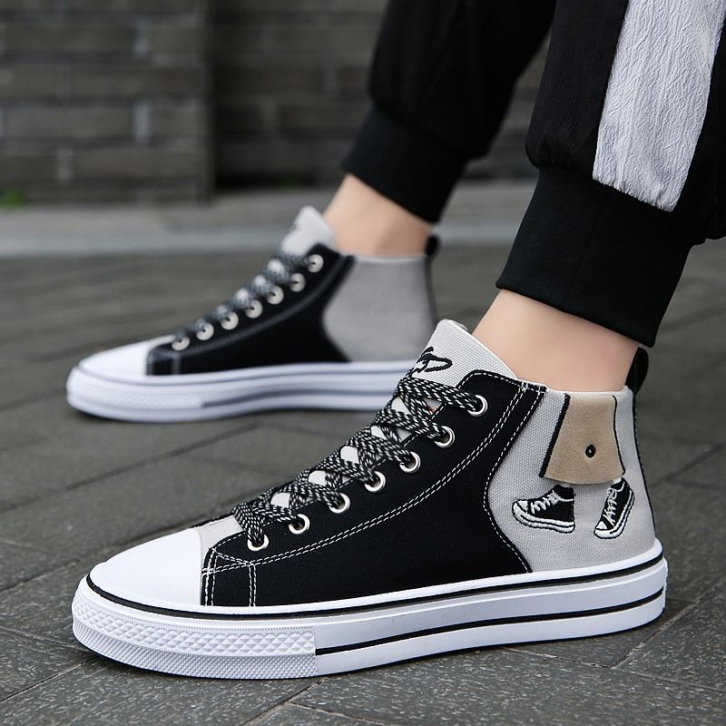 Canvas shoes mens spring high top casual shoes old Beijing cloth shoes students versatile board shoes breathable antiskid mens shoes fashion