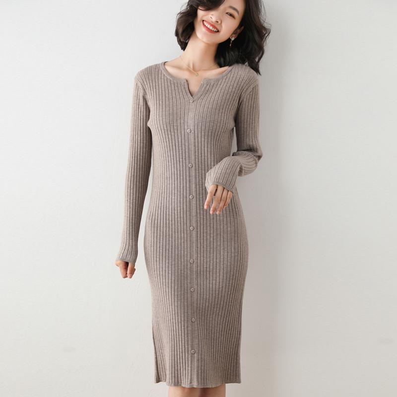 Autumn and winter wool dress medium length V-neck Pullover slim package hip over knee knitting versatile wool dress Korean version thin