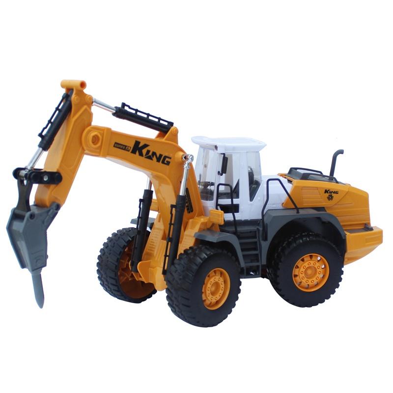 儿童钻地机玩具挖掘机带钻头的玩具合金工程车模型压路破碎拆机