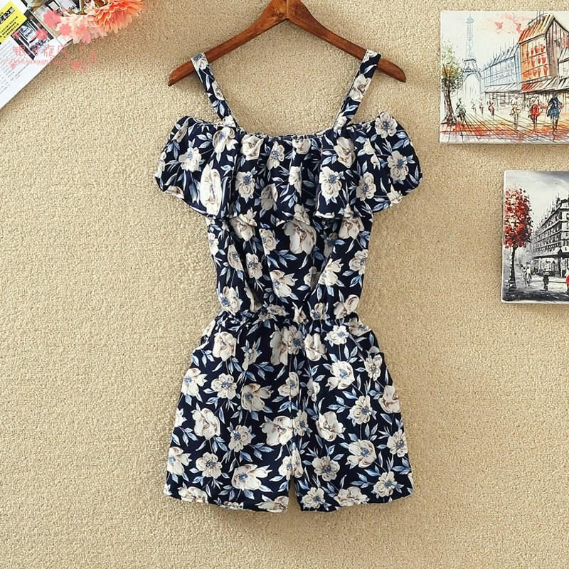 Waistband pocket sleeveless shorts show thin Chiffon Jumpsuit suspender 2020 top new one-piece Floral Summer