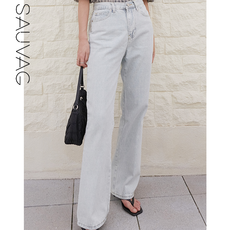 Sauvag jeans wide leg pants womens summer new style straight tube show thin wide leg pants high waist show high loose pants